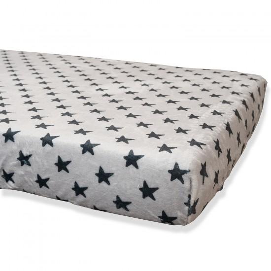 Bajera Coralina Gris Estrellas Negras Cama 90x190