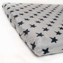 Bajera Coralina Gris Estrellas Negras Minicuna 70x50