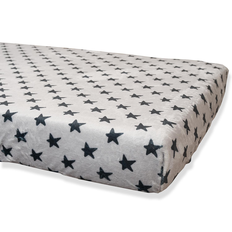 Bajera Coralina Gris Estrellas Negras Cama 80x130